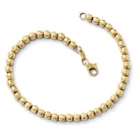 Italian 14k Gold Diamond Cut Beaded Bracelet - 7.25 inches