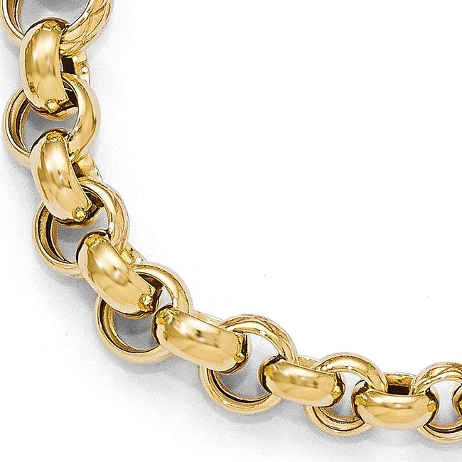 Italian 14k Gold Polished Fancy Link Bracelet 8 Inches