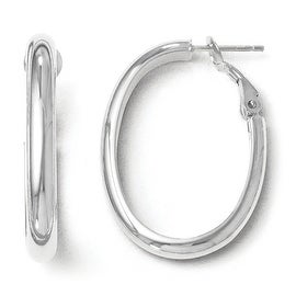 Italian 14k White Gold Polished Oval Hoop Earrings