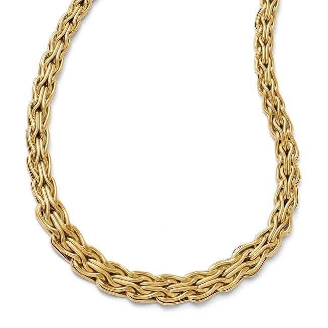 Italian 14k Gold Polished Fancy Link Necklace - 18 inches
