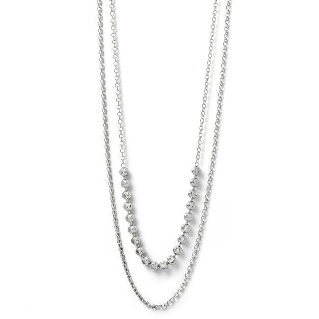 Italian Sterling Silver Diamond Cut Two Layer with 2 ext. Beaded Necklace - 18 inches
