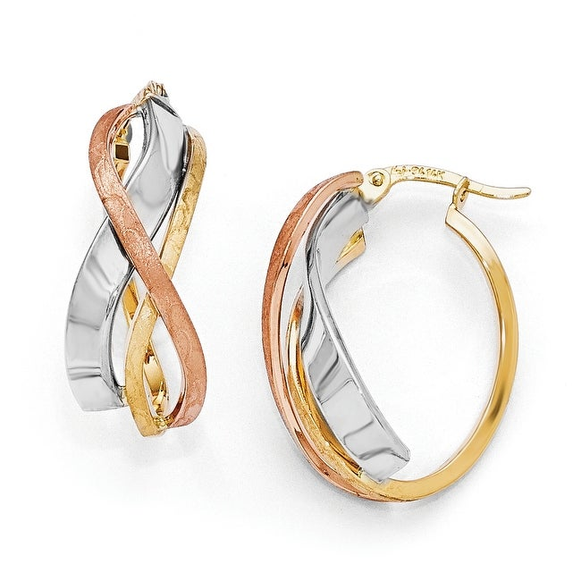14k Tri-Color Gold Polished and Brushed Fancy Hoop Earrings