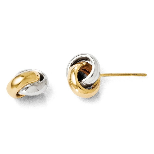 14k Two-Tone Gold Polished Post Earrings