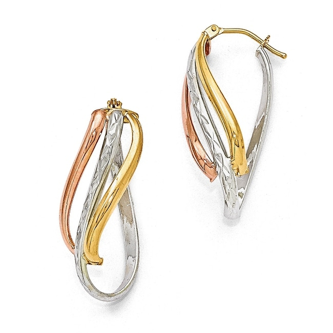 Italian 14k Tri-Color Gold Polished Twisted Diamond Cut Hinged Hoop Earrings