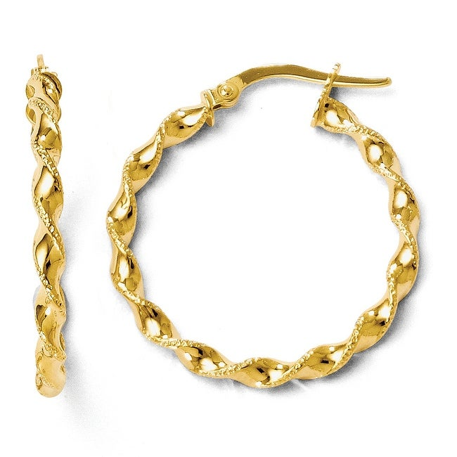 Italian 14k Gold Twisted Hoop Earrings