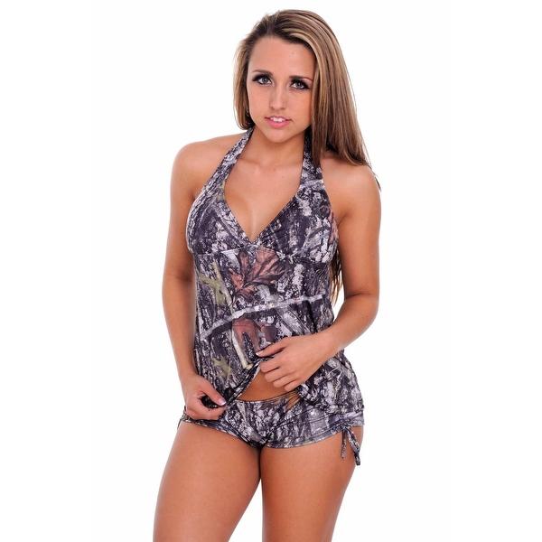 Women's 2-Piece Camo Bikini Green True Timber Tankini Top & String Shorts Beach Swimwear Swimsuit
