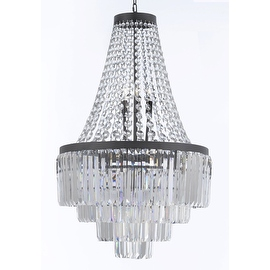 Odeon Crystal Glass Fringe 4 -Tier Chandelier Lighting H35 x W24