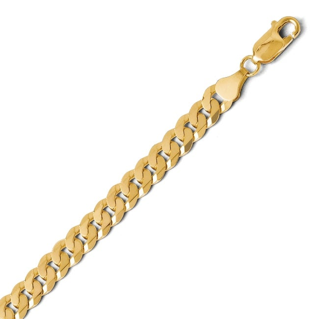 14k Gold 7.25mm Beveled Curb Chain