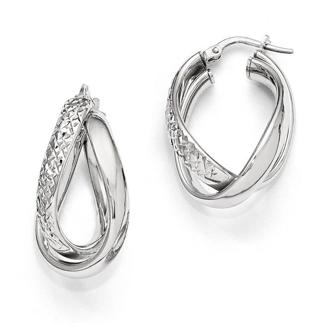 Italian Sterling Silver Polished and Textured Fancy Hoop Earrings
