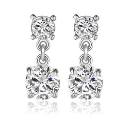 18K White Gold Double Swarovski Jewels Drop Down Earrings