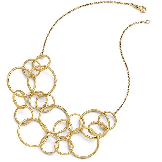 Italian 14k Gold Scratch Finish Round Multi Strand Necklace - 17 inches