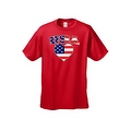 Unisex USA Flag T Shirt Patriotic Pride w/ Love Heart Red White & Blue American - Thumbnail 3