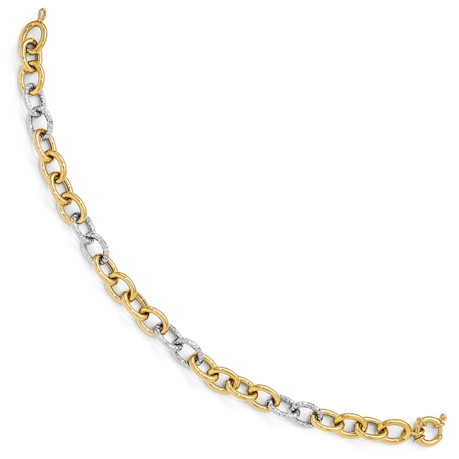 Italian 14k Two-Tone Gold Polished & Textured Fancy Link Bracelet - 8 inches
