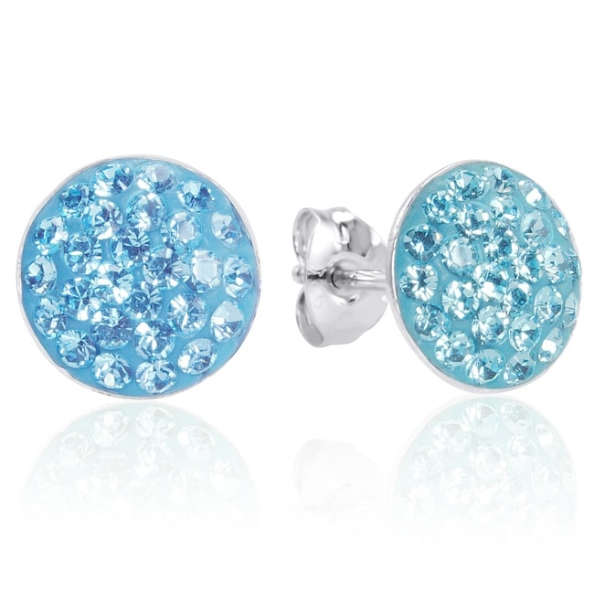 Amanda Rose Sterling Silver Aqua Blue Stud Earrings Encrusted with Swarovski Crystals