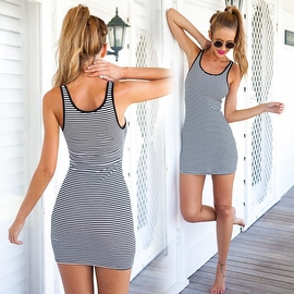 Women's Sundress Sleeveless Striped Camisole Tank Dress Beach Dress