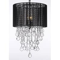 Crystal Chandelier With Large Black Shade H24 x W15