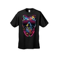 Men's T-Shirt Splattered Paint Colorful Skull W/ Shades Skeleton Graphic Tee - Thumbnail 3