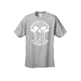 Men's T-Shirt Protect Your Liberties 2nd Amendment Freedom Guns Skull Tee