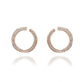 18K Rose Gold Hoop Earrings Covered with Crystal Jewels