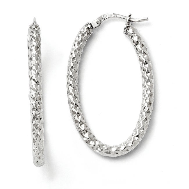 Italian Sterling Silver Polished &Textured Oval Hinged Hoop Earrings