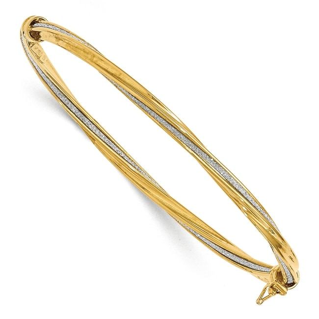 Italian 14k Gold Glimmer Infused Bangle