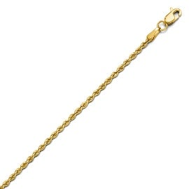14k Gold 2.0mm Solid Rope Chain