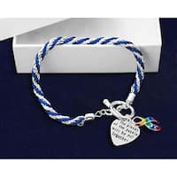 AUTISM Awareness SUPPORT BLUE Rope Bracelet Puzzle Ribbon and Charm