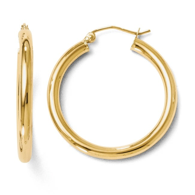 14k Gold Polished 3mm Hoop Earrings