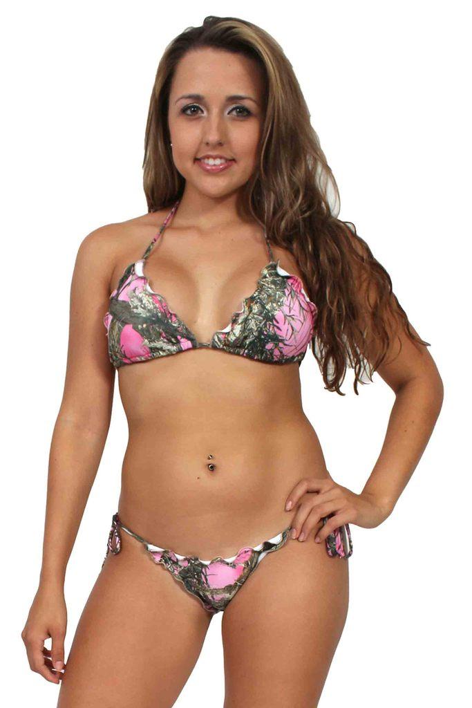 Women's Pink Camo True Timber 2-Piece Ruffle Bikini Swimwear Swimsuit Beach Camouflage