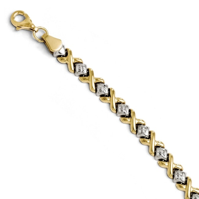 10k Two-Tone Gold Diamond Cut Bracelet - 7 inches