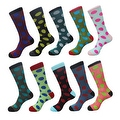 Funny Men's Polka Dots Cotton Casual Dress Socks (10 PAIRs) Size 10 - 13 - Thumbnail 0