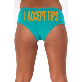 Women's Sexy Hot Booty Boy Shorts I Accept Tips Wavy Orange Bold Style Type Lingerie
