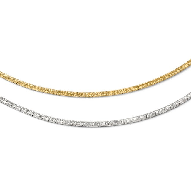 Italian 14k White Gold with Rhodium Reversible Adjustable Omega Chain - 16 inches