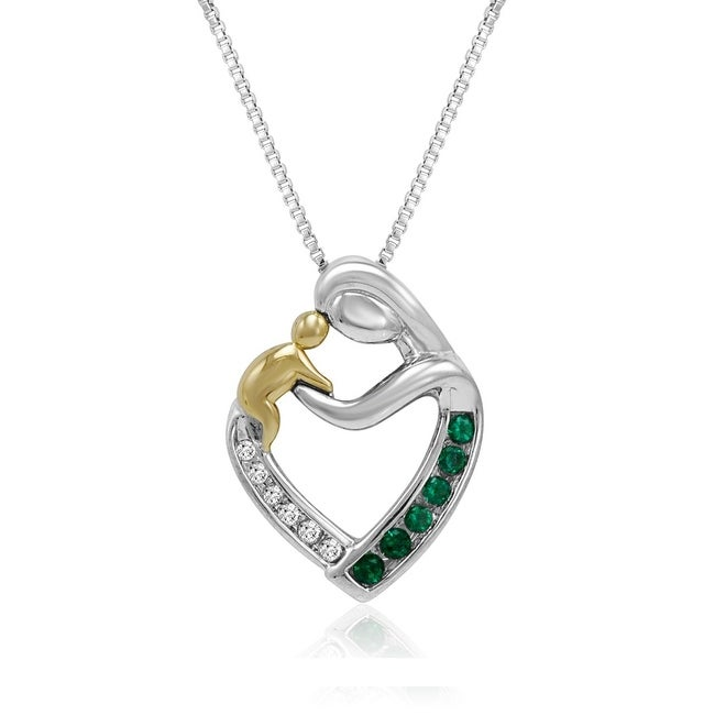 Amanda Rose Sterling Silver and 14K Gold Created Emerald and Diamond Mother with Child Heart Pendant-