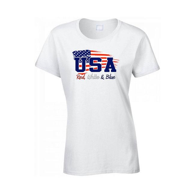 Women's USA Flag Juniors T-Shirt Red WHITE & Blue Stars & Stripes Pride Tee