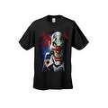Men's T-Shirt Mad Joker Clown Crazy Creepy Red Nose Smoking Cigar Graphic Tee - Thumbnail 5