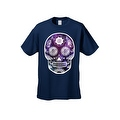 Men's T-Shirt Funny Sugar Skull Purple Galaxy Hipster Day of the Dead Victorian Tee - Thumbnail 2