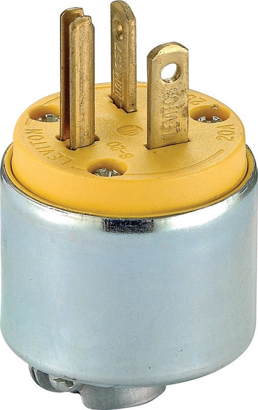 Leviton  Commercial  Armored  Grounding  Plug  6-20P  18-12 AWG 3 Wire  Yellow