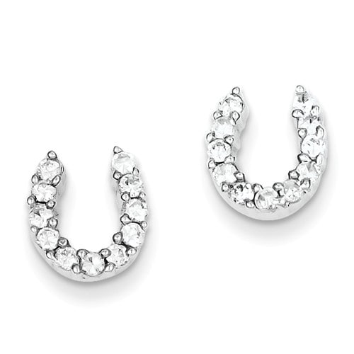 Amanda Rose Sterling Silver Cubic Zirconia Horseshoe Earrings