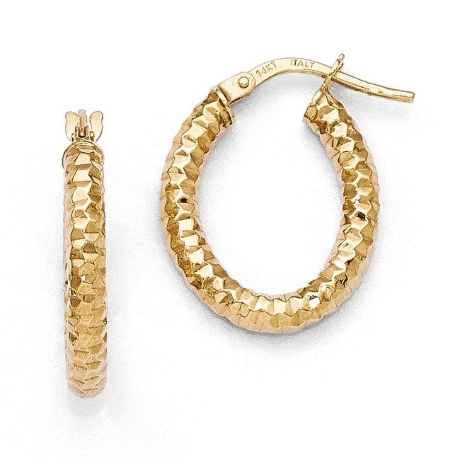 Italian 14k Gold Polished & Textured Hoop Earrings