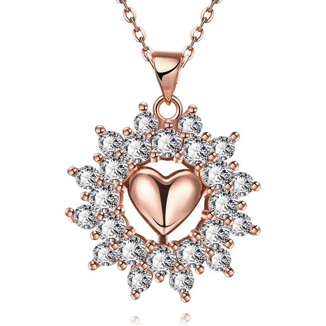 Rose Gold Plated Petite Heart Snowflake Bridal Necklace