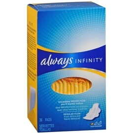Always Infinity Maxi Pads Flexi-Wings Regular Flow 36 Each
