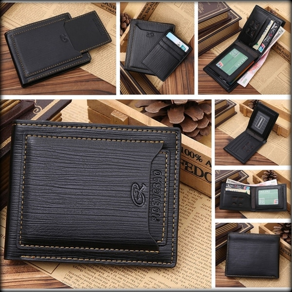 New Men's Bifold Wallet Black Genuine Leather Purse Credit Card Money Holder ID Card Clutch Handbag