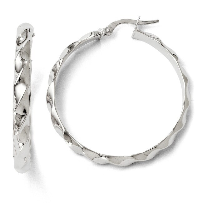Italian 14k White Gold Polished Twisted Hoop Earrings