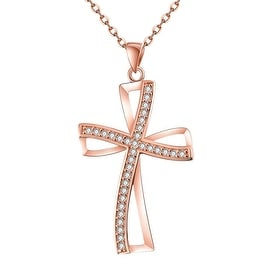 Rose Gold Plated Modern Twist to the Religous Cross Necklace