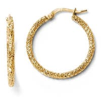 Italian 14k Gold Polished and Textured Hoop Earrings