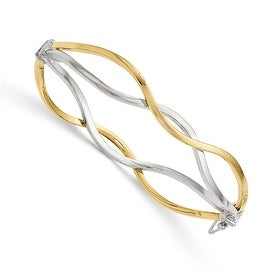 Italian 10k Gold White Rhodium-plated Polished Twisted Bangle Bracelet