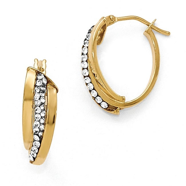 Italian 14k Gold Austrian Crystal Elements Polished Oval Hinged Hoop Earrings
