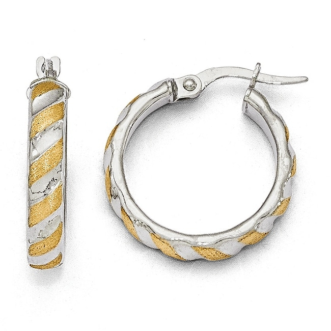 Italian 14k White Gold with Yellow Polished Textured Hoops