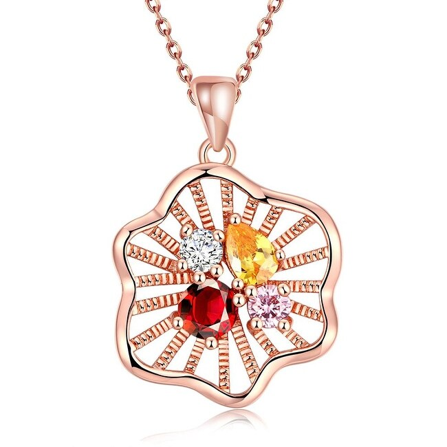 Rose Gold Plated Quad Colorful Jewels Bridal Necklace